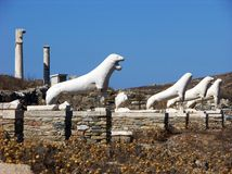 Lions of Delos Statue-Greece Stock Photography