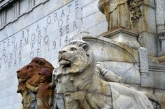 Lions of the Empire. Lions at the Shrine of Remembrance, Kings Domain, Melbourne, Australia Royalty Free Stock Photos
