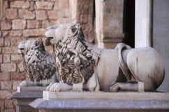 Lions at the entrance of Almudaina Palace in Palma de Mallorca Stock Image