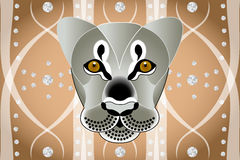 Lions face on abstract graphic background. With diamonds royalty free illustration