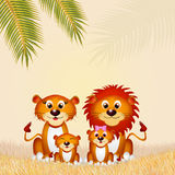 Lions family. Cute illustration of lions family Vector Illustration