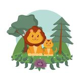 Lions family cute animals cartoons. Lions family at forest isolated image vector illustration graphic design Royalty Free Illustration