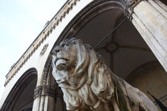 Lions at Feldherrnhalle. The statues of lions in front of the Feldherrnhalle (Field Marshall's Hall) in Munich, Germany Stock Photos