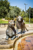 Lions fontaine, jardin de Bloomfield à Jérusalem, Israël Photo libre de droits