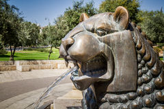 Lions fontaine, jardin de Bloomfield à Jérusalem, Israël Image stock
