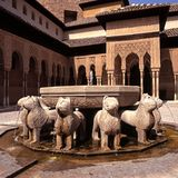 Lions fountain, Alhambra Palace, Granada. Royalty Free Stock Photography