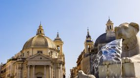Lions, fountain, Piazza del Popolo, Rome, Italy Stock Photography