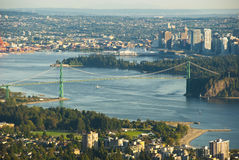 Lions Gate Bridge. A view of Lions Gate Bridge and Stanley Park at Vancouver, British Columbia Stock Image