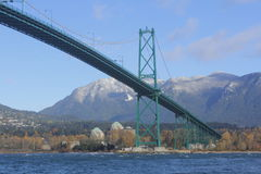 The Lions Gate Bridge. Looking east to the Lions Gate Bridge spanning the Burrard Inlet Royalty Free Stock Photos