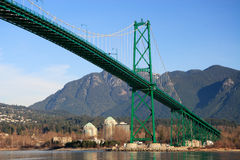 Lions Gate Bridge. In Vancouver. Early morning light royalty free stock photo
