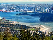 Lions Gate Bridge. Aerial view of Lions Gate Bridge in Vancouver, Canada stock photos