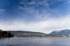 Lions Gate bridge as seen from Stanley Park, Vancouver Stock Photography