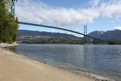Lions Gate Bridge, Burrard Inlet, Vancouver Royalty Free Stock Photo