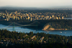 Lions Gate Bridge and Downtown Vancouver Royalty Free Stock Photo