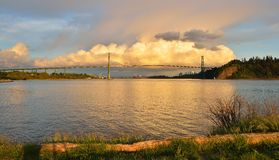 Lions Gate Bridge and Downtown Vancouver with spectacular clouds Stock Images
