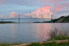 Lions Gate Bridge and Downtown Vancouver with spectacular clouds Royalty Free Stock Photo