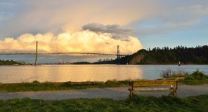 Lions Gate Bridge and Downtown Vancouver with spectacular clouds Stock Photography