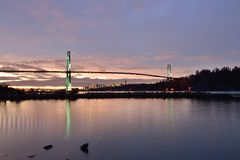 Lions Gate Bridge and Downtown Vancouver at sunrise Stock Image