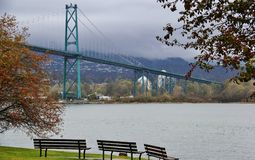 Lions Gate Bridge, Fall Color, Autumn leaves, City Landscape in Stanley Paark, Downtown Vancouver, British Columbia Royalty Free Stock Image
