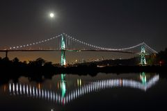 Lions Gate Bridge in a full moon. Vancouver, Canada Royalty Free Stock Photo