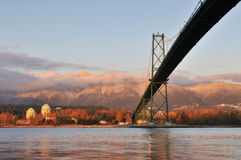 Lions Gate Bridge and Grouse Mountain Stock Photography