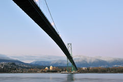 Lions Gate Bridge and Grouse Mountain Royalty Free Stock Photos