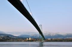 Lions Gate Bridge and Grouse Mountain Royalty Free Stock Photos