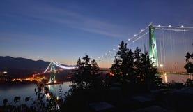 Lions Gate Bridge and Grouse Mountain Stock Photo