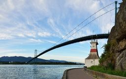Lions Gate Bridge and Grouse Mountain Stock Images