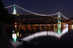 Lions Gate Bridge Lights, Vancouver Stock Images