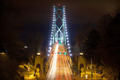 Lions Gate Bridge at Night Royalty Free Stock Image