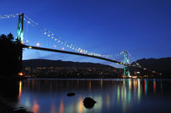 Lions Gate Bridge at night Royalty Free Stock Photo