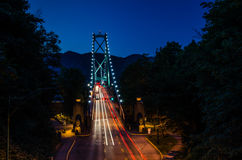 Lions Gate Bridge at Night Royalty Free Stock Images