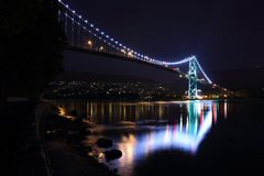 Lions Gate Bridge at Night, Vancouver Stock Photos