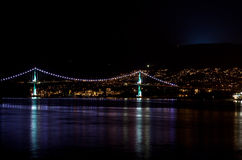 Lions Gate Bridge at night, Vancouver, BC Royalty Free Stock Image