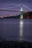 Lions Gate Bridge and Skyline Night Royalty Free Stock Photo