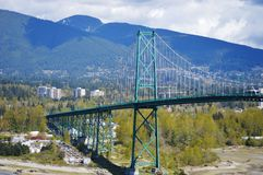Lions Gate Bridge from Stanley Park in Vancouver Royalty Free Stock Photography