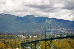 Lions Gate Bridge from Stanley Park in Vancouver Royalty Free Stock Photos
