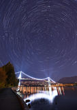 Lions Gate Bridge and Star Trails, Stanley Park, Vancouver Royalty Free Stock Photography