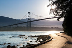 Lions Gate Bridge, Vancouver. The Lions Gate Bridge from the Stanley Park Stock Photo