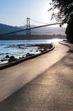 Lions Gate Bridge, Vancouver. The Lions Gate Bridge from the Stanley Park Stock Image