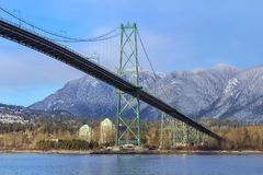 Lions gate bridge in Vancouver, BC, Canada. The bridge connects the City of Vancouver to the North shore municipalities of the North Vancouver Royalty Free Stock Photo