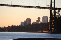 Lions Gate Bridge Vancouver First Light Stock Photo