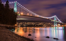 Lions Gate Bridge in Vancouver at Night Royalty Free Stock Images