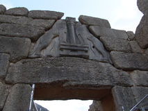 Lions Gate details in Mycenae, Greece Royalty Free Stock Photos