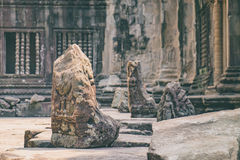 Lions guarding Angkor Wat temple, Cambodia. The ruined stone Lion guarding the ruins of Angkor Wat temple in the ancient city of Angkor, Siem Reap, Cambodia Royalty Free Stock Photography