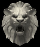 Lions Head. Artistic lion head sculpture, isolated on black background. 3D rendered image royalty free illustration