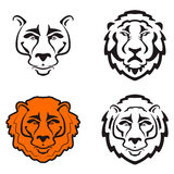 Lions head icons isolated on white background. Design element for logo, label, sign, badge. Vector illustration Royalty Free Stock Images