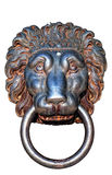 Lions head isolated. An ancient iron lions head door knocker isolated against a white background Stock Photos