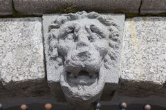 Lions Head - over the entrance to the grotto. Manor Kushelev-Bezborodko. Saint Petersburg Royalty Free Stock Photo